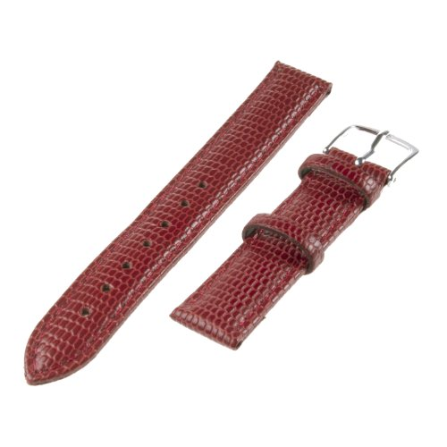 Republic Women'S Lizard Grain Leather Watch Band, Red, Size 10 Mm Regular