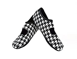 NuFoot Mary Janes Women\'s Shoes, Best Foldable & Flexible Flats, Travel & Exercise Shoes, Dance Shoes, Yoga Socks, Indoor Shoes, Slippers, Black/White Hounds Tooth, Large