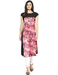 Mantra Fashion Women's Crepe Pink Colour Printed Kurti(Pink Colour)