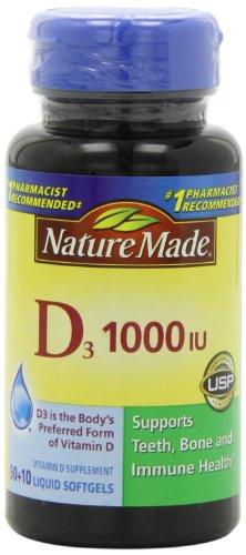 Nature Made, Vitamin D3 1,000 I.u. Liquid Softgels, 100-Count (Liquid Vitamin D3 1000 Iu compare prices)