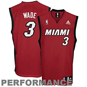 NBA Miami Heat Dwayne Wade #3 Youth Replica Alternate Jersey, Red, Medium