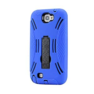 Gearonic AV-5267DPUIB 3-Piece Hard Case Silicone Cover Kickstand for Samsung Galaxy Note II 2 N7100 - Non-Retail Packaging - Blue