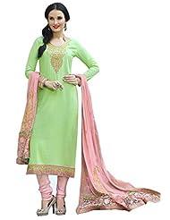 Surat Tex Green Color Embroidered Pure Cotton Semi-Stitched Salwar Suit-D433DL3255KE