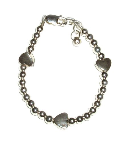 Silver Hearts Sterling Silver Childrens Girls Bracelet Jewelry tiny silver hearts throughout design. Size Medium 1-5 years