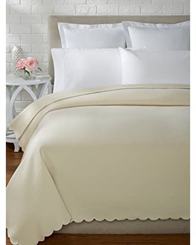 Traditions Linens Ivone Scalloped Coverlet  [Ivory]