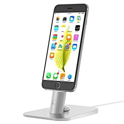 iphone dock,INI Adjustable Desktop Charger Stand for iPhone 7 Plus/7/SE/6S /iPad mini/iPad Air,Compatible With iPhone Orginal lighthing cable-Cables not included (Silver)