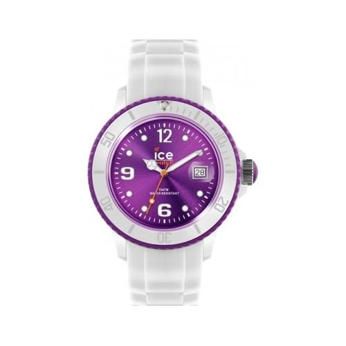 Ice-Watch Women's Quartz Watch with Purple Dial Analogue Display and White Silicone Strap SI.WV.S.S.12