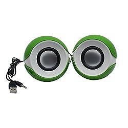 Speed Multimedia USB 2.0 YX10 Mini Portable Laptop/Desktop Speaker (Green, 2.0 Channel)