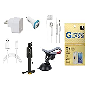 13Tech 1.0 Amp USB Charger+1.5 mtr Copper (Data Transfer+Charging) Cable+Universal Handsfree 3.5 mm Jack Headphones+2 Jack Car Charger+Sefie Stick Aux+Mobile Holder+Tempered Glass for Blackberry Passport