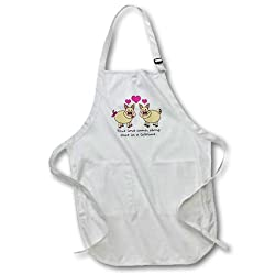 3dRose apr_6292_4 True Love Comes Along once in a Lifetime Cute Pig Love Design Full Length Apron with Pockets, 22 by 30-Inch, Black