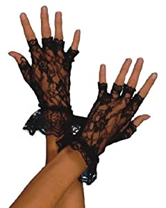 Smiffys Fingerless Lace Gloves (Black)