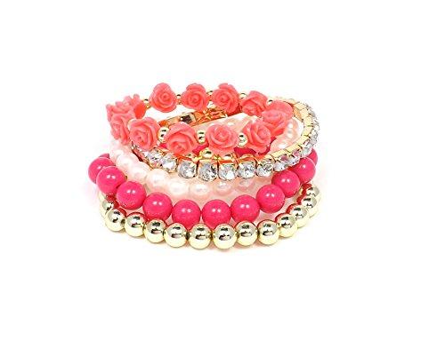Bijou - Set composto da 5 antiruggine ed elegante bracciale con perline - Round palline strass decorativi fiori Rosa, Lega, colore: Rosa, cod. Set aus 5 Armbaender