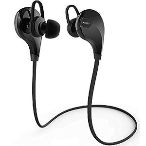 Aukey® Auriculares estéreo Bluetooth 4.1 para correr cascos deportivos y resistente al agua y sudor, Earphone Bluetooth, Auriculares inalámbricos con micrófono para iPhone 6 plus/ 6/ 6s plus/ 6s/ 5s/ 5c/ 5, Samsung Smartphone, Tablet PC, etc EP-B4 Cable Negro