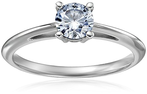 House of Eleonore 18k White Gold Round Solitaire Laboratory-Created Blue Diamond Engagement Ring, (1/2cttw, VS1-VS2 Clarity) Size 6