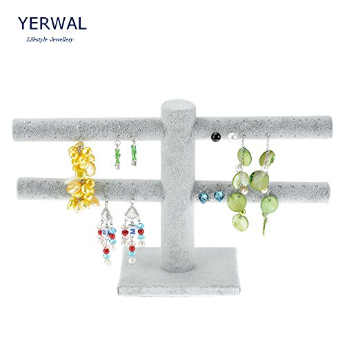 Yerwal 2 Tiers Earring Rack T-Bar Display Earrings Stand Storage Organizer(White) (White Earring Rack compare prices)