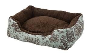 AlphaPooch Cuddler Rectangular Bolster Dog Bed, Celery Toile Fabric with Coco Fleece, Medium
