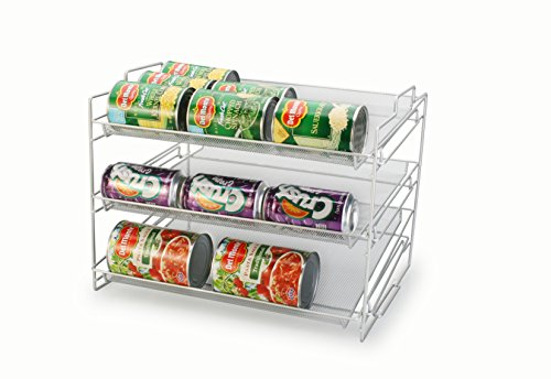 Artestia 3-layer Mesh Steel Stackable Can Rack Organizer, Silver (Stackable Can Dispenser compare prices)