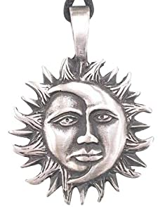 Moon & Sun Man Face Pewter Pendant Necklace