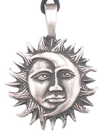 Moon & Sun Man Face Pewter Pendant Necklace