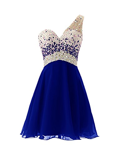 Dresstells® Short Homecoming Dress Beadings One Shoulder Prom Evening Dress Royal blue Size 8 (Party Ware Gowns compare prices)
