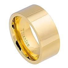buy Free Engraving 10Mm Titanium High Polished Yellow Gold Ip Wedding Band Ring For Men Or Ladies