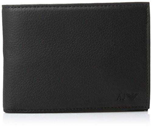 Armani-Jeans-Mens-Genuine-Leather-Large-Bi-Fold-Wallet-Black-One-Size