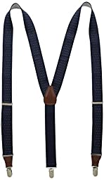 Wembley Men\'s 32 mm Dot Suspender with Clips, Navy, One Size