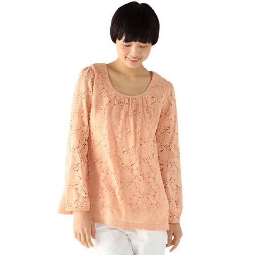 (エコマルシェ)ecomarche 花レースAラインブラウス 879926-1 20 オレンジ L
