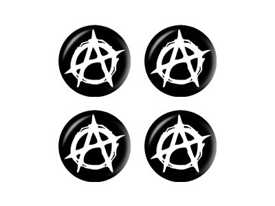 Anarchy Symbol - Wheel Center Cap 3D Domed Set of 4 Stickers (Anarchy Emblem compare prices)