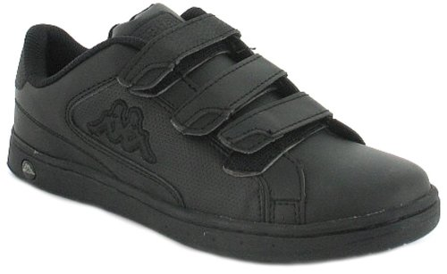 Boys/Childrens Black Kappa Pu Upper Tennis Shoe.Kappa Logo To Sidewall - Blk/Charcoal/Black - UK 3-6