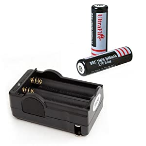 UltraFire 18650 3.7V 3600mAh Lithium Rechargeable Batteries Battery 2 Pack + Charger