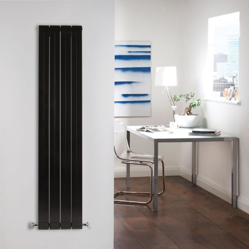 Milano Bora - High-Gloss Black Designer Radiator - Flat Panels - Lightweight Central Heating Vertical 'Flat' Columns - 1600mm x 315mm
