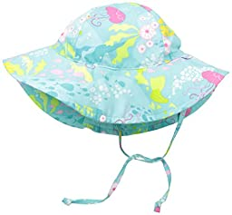 i play. Toddler Girls Brim Sun Protection Hat, Aqua Coral Reef, 2T-4T