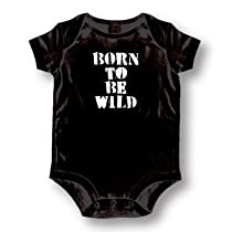 "Attitude Rompers ""Born To Be Wild"" Baby Romper, Black, 6 Months"