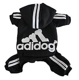 Scheppend Adidog Pet Clothes for Dog Cat Puppy Hoodies Coat Winter Sweatshirt Warm Sweater,Black Large