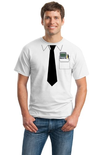 [Pocket Protector | Funny Engineer, Geek Humor Nerdy Unisex Costume T-shirt-White-Large] (Super Nerdy Costume)