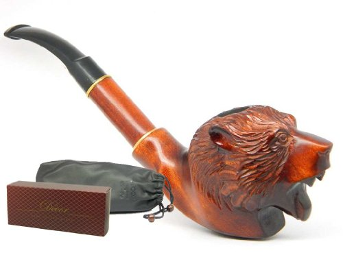 "Wooden Tobacco Smoking Pipe ""GRIZZLY BEAR"" Hand finished, Collectible + Branded Box&Pouch"
