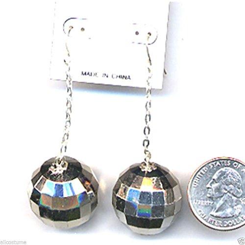 Popcandy Disco Ball Costume Pierced Earrings 70s Costume Earrings Disco Earrings 9764 (70s Disco Gold Adult Costume)