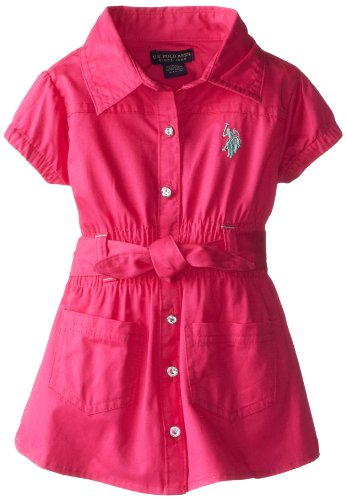 U.S. Polo Assn. Baby-Girls Infant Smocked Waist Dress With Belt, Pink Kite, 12 Months front-12079