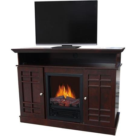 Dark Brown Wood Electric Heater Fireplace for TVs up to 40"