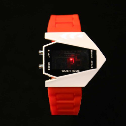 Vktech New Fashion Cool Unisex Colorful Led Aircraft Watch Sports Watch (Red)