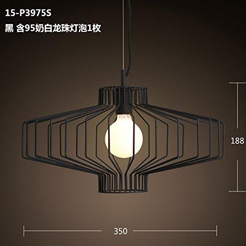Moderne e semplici personalità creativa ferro lampadario lanterna studio sala soggiorno ristorante gabbia singola illuminazione15-P3975S black