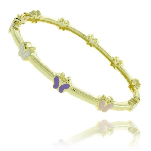 Lily Nily 18k Gold Overlay Multi Colored Enamel Butterfly Design Children's Bangle
