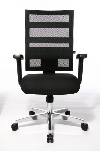 Topstar 959TT200E X-Pander Design Swivel Chair with Mesh Backrest and Elastic Tapes - Black