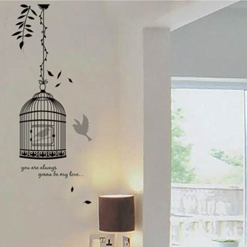 bestofferbuy sticker mural illustr par l image d un oiseau en cage d calcomanie jm8218. Black Bedroom Furniture Sets. Home Design Ideas