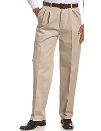 Haggar Men\'s Work To Weekend Khakis Hidden Expandable Waist No Iron Pleat Front Pant,Khaki,44x32