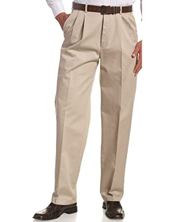 Haggar Men's Work To Weekend  Hidden Expandable Waist No Iron Twill Pleat Front Pant,Khaki,30x30