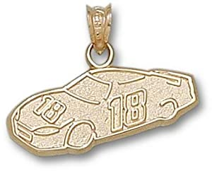 Kyle Busch #18 Car Pendant - 14KT Gold Jewelry by Logo Art