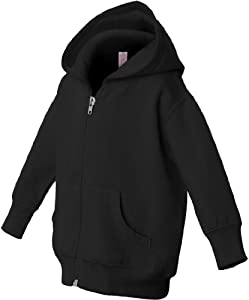 Rabbit Skins Infant Zipper Hooded Sweatshirt - Black - 6M