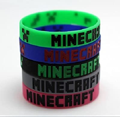 Set Of 5 Colors Minecraft Creeper Bracelet Wristbands from JL